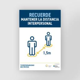 Cartel distancia interpersonal como medida de prevención covid 19