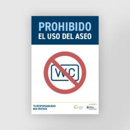 Cartel prohibido el uso del wc como medida de prevención covid-19