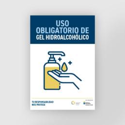 Cartel uso obligatorio de gel como medida de prevención del covid 19