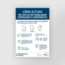 Cartel como actuar en caso de un trabajador contagiado